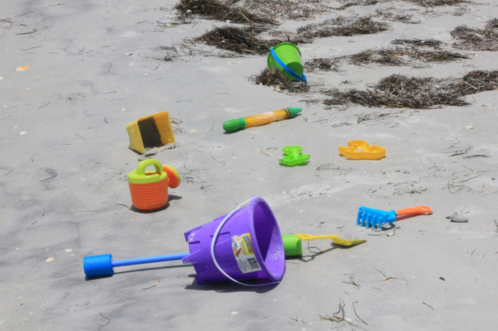 Tools for the perfect sand castle.  Indian Rock Beach, Florida