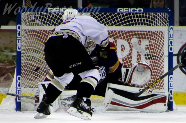 Game winning goal.  Gladiators defeated the Admirals 4-3 in overtime.